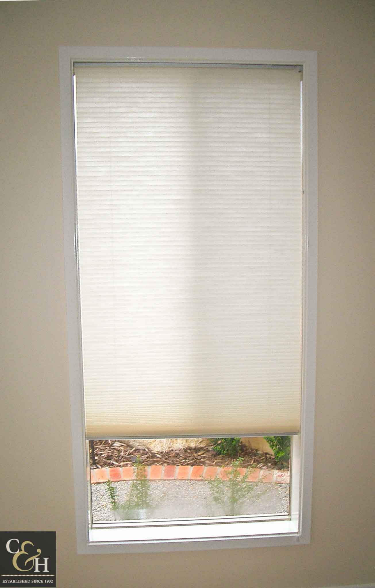 Honeycomb blinds 8 in a bathroom