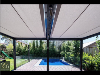 Overhead Sun shade retractable awning