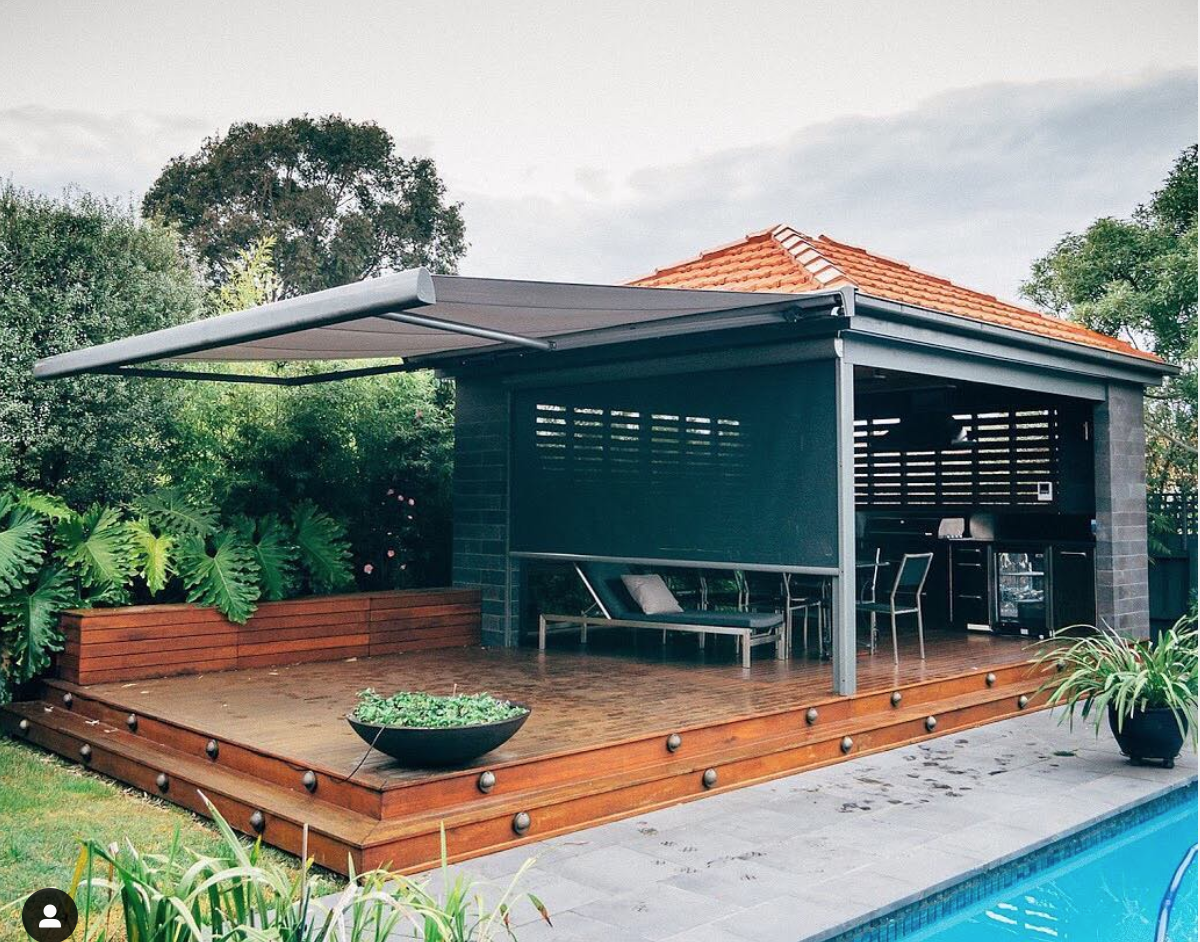 Folding Arm Awning Melbourne pool